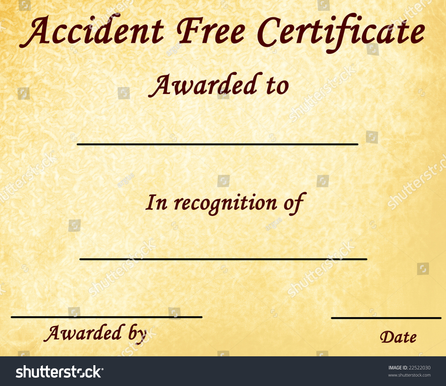 Accident Free Certificate Some Stains On Stock Illustration 22522030 ...
