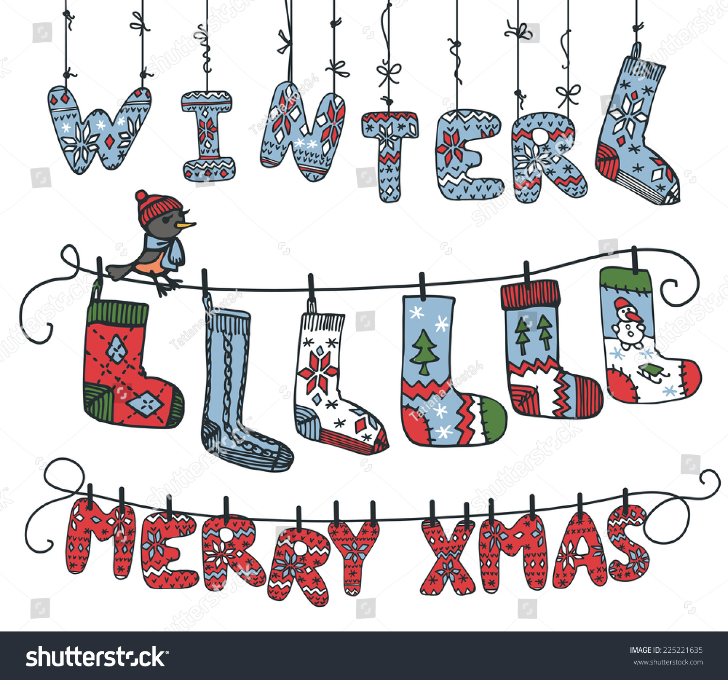 Cute Cartoon Knitted Letters Winter Merry Stock Vector