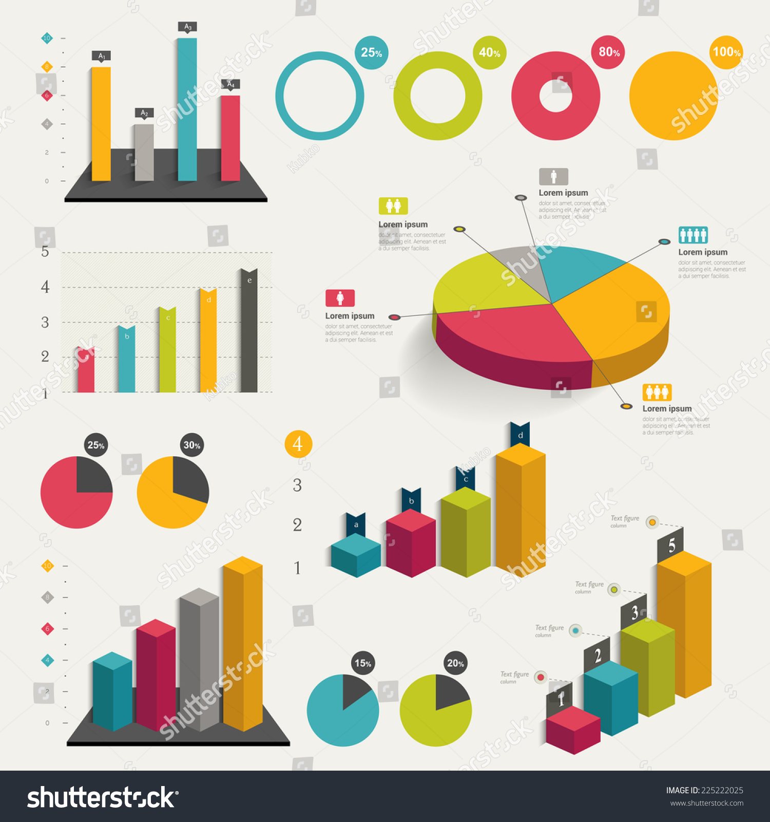 Set Business Flat 3d Design Graph Stock Vector 225222025
