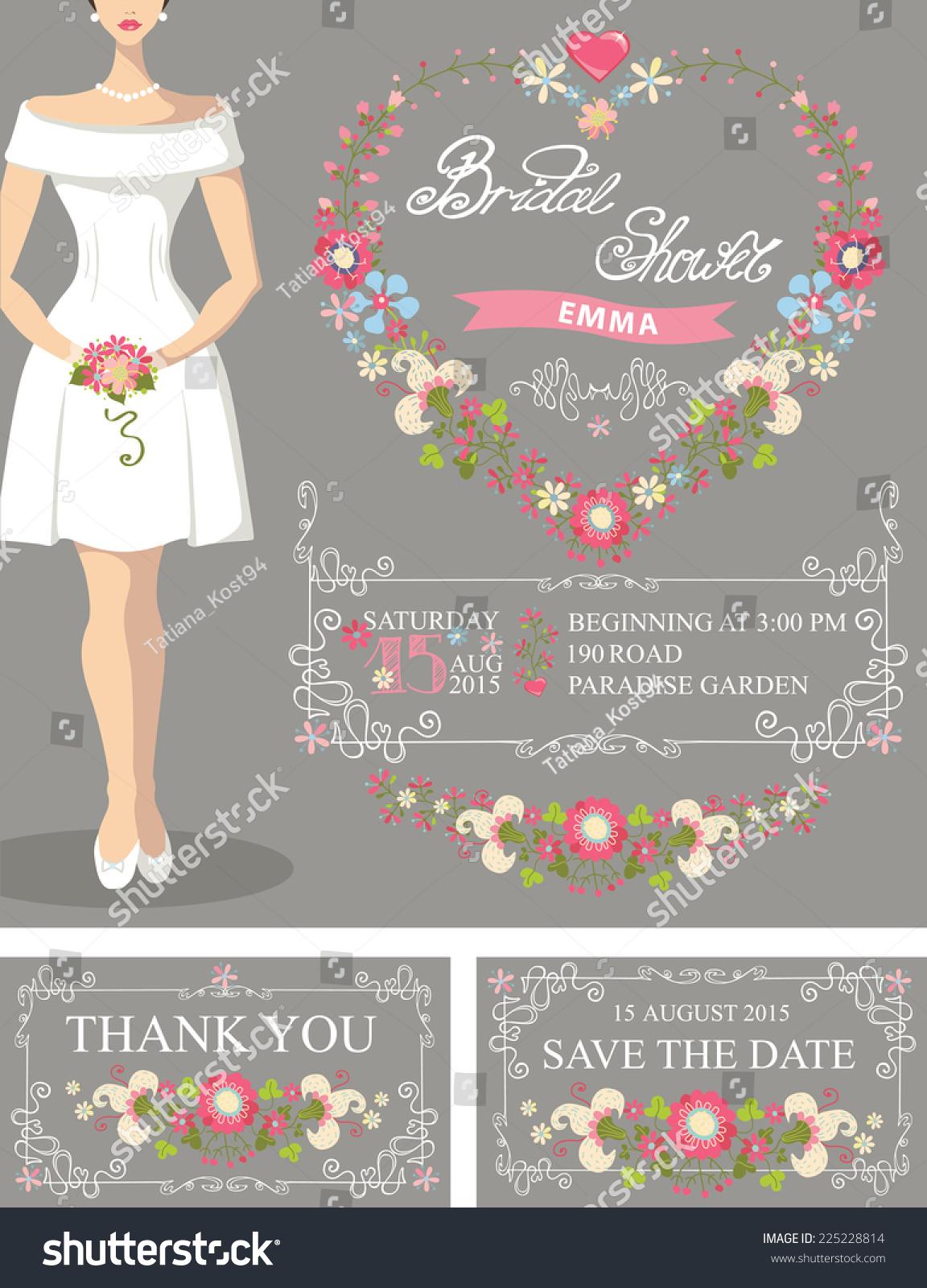 bridal shower setcute cartoon bride in white short dressdecor swirling border
