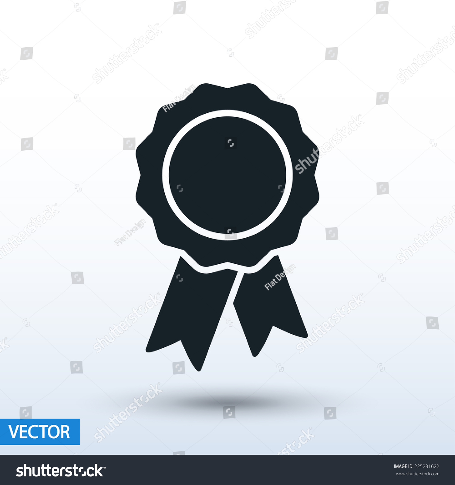 badge with ribbons icon vector illustration Flat design style