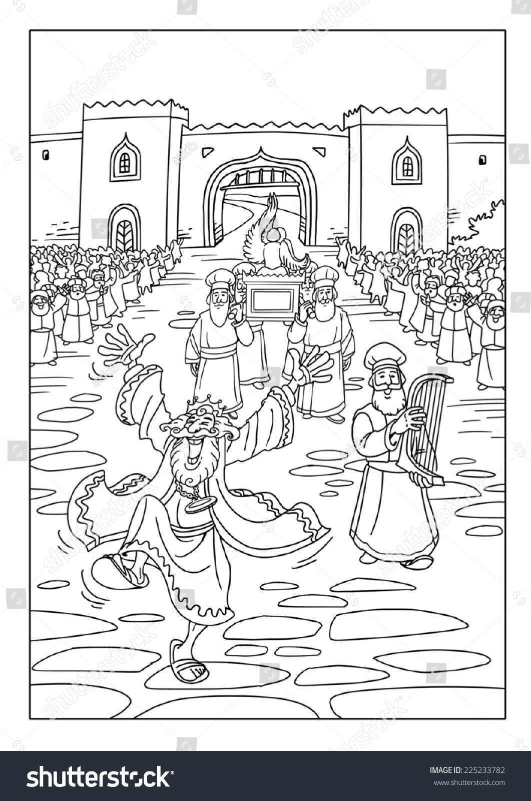 Coloring picture of the ark of covenant - King David Dancing And Rejoicing Because Priests Are God S Ark Of The Covenant