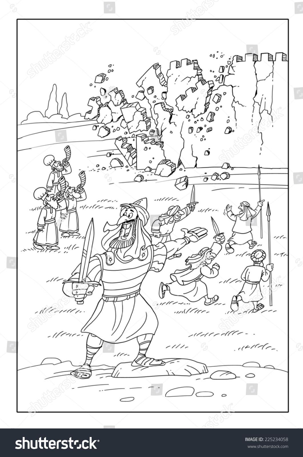 Joshua Wall Of Jericho Coloring Page Kids Korner Biblewise