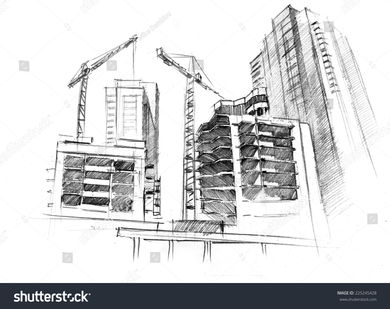 Handdrawn Artwork Building Work Skyscrapers Big Stock Illustration