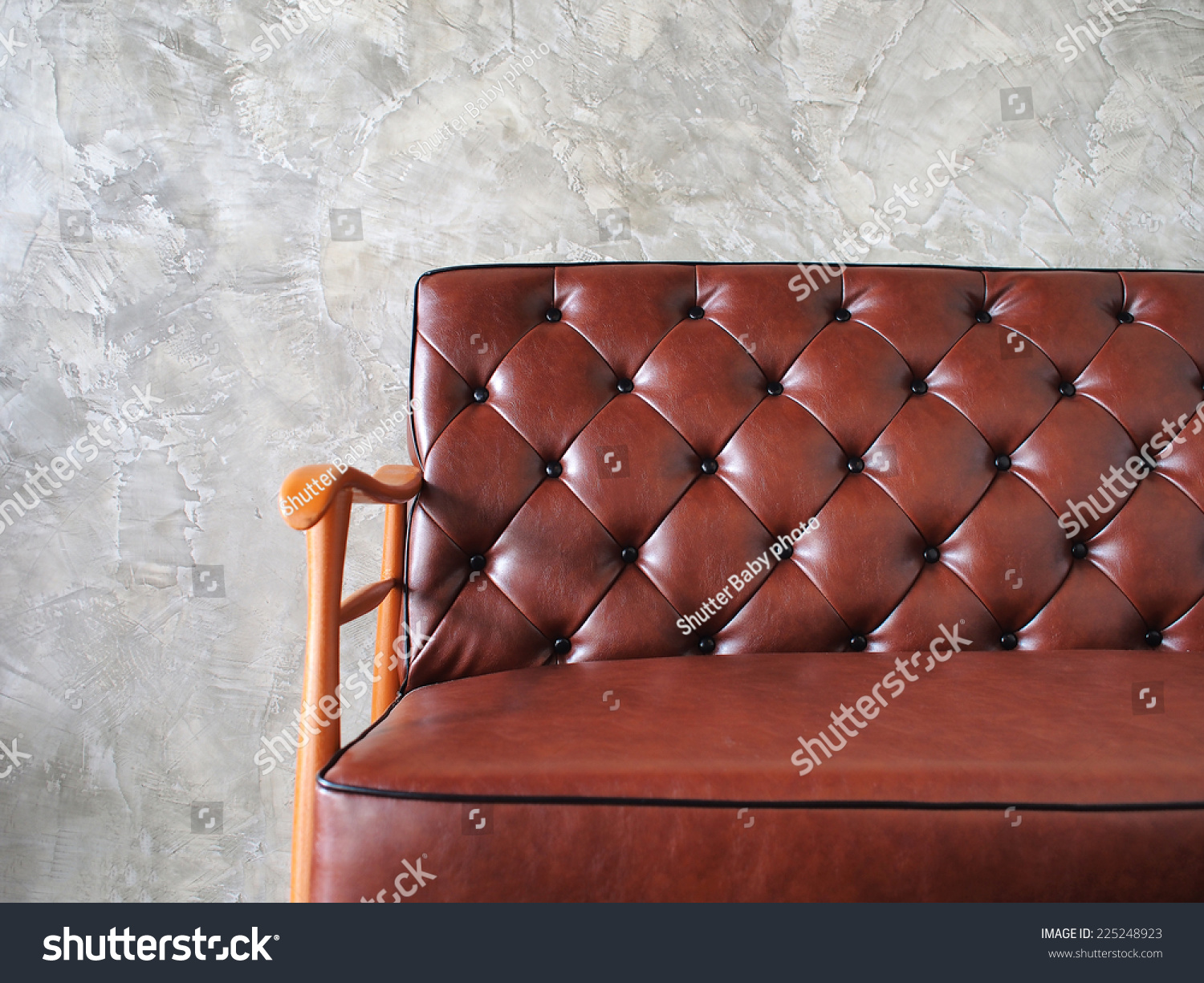 Close Up Vintage Style Interior Decoration Stock Photo 225248923  ~ Leather Sofa Vintage Style