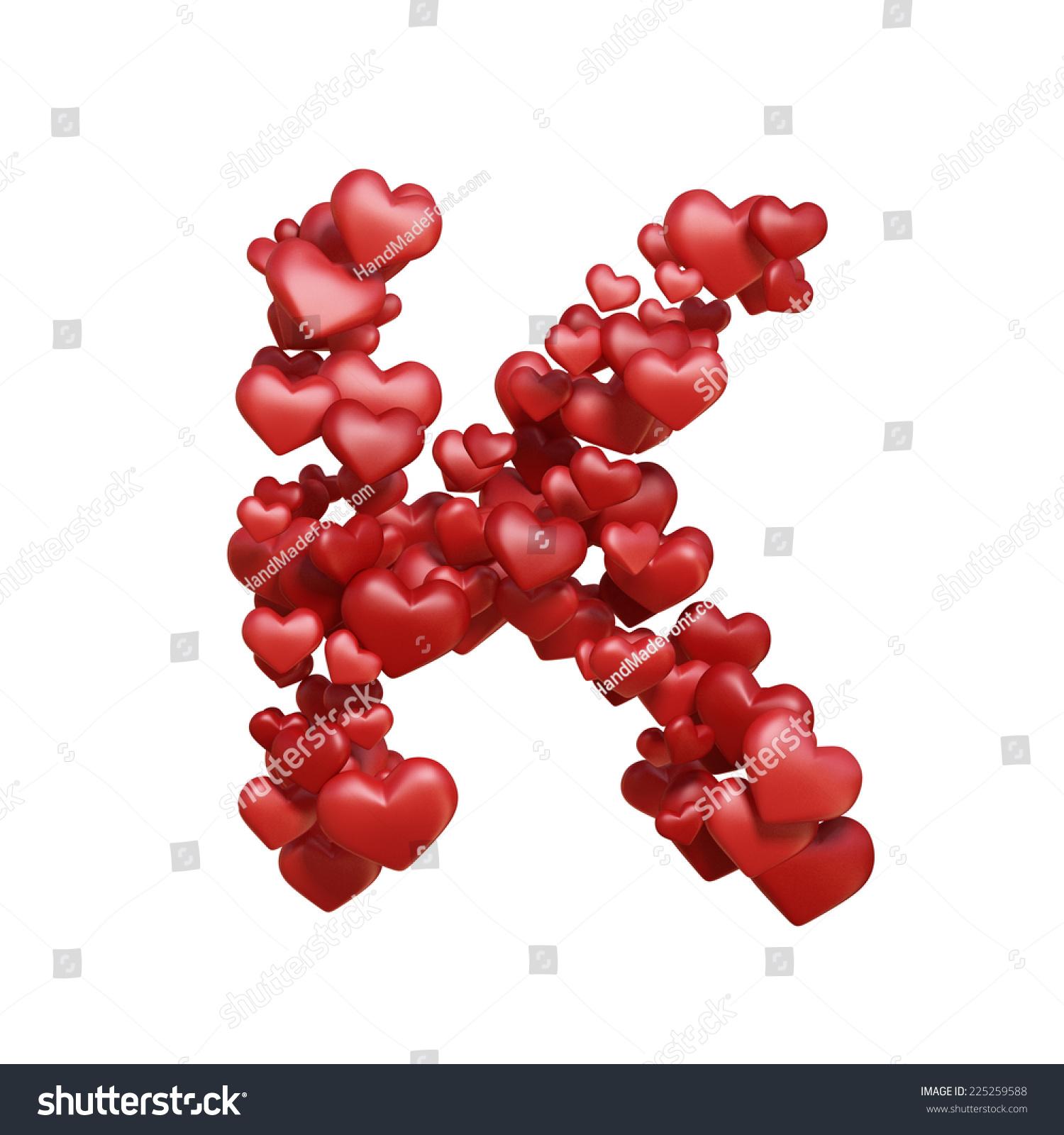 Letter K. Healt Alphabet Isolated On White. Red Lovely ... K Alphabet In Heart