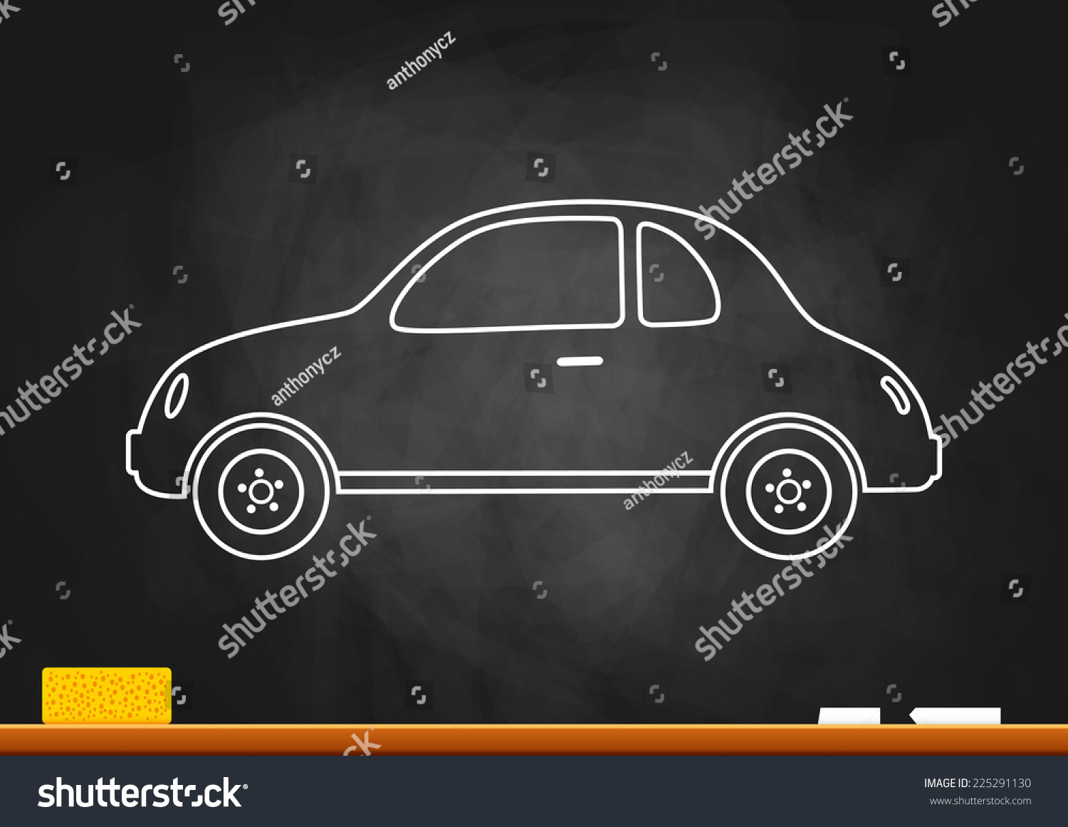 Drawing of car on blackboard