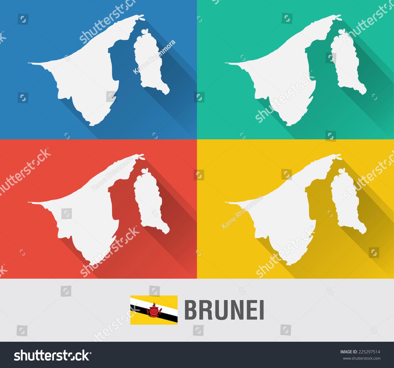Brunei World Map Flat Style 4 Stock Vector 225297514 Shutterstock