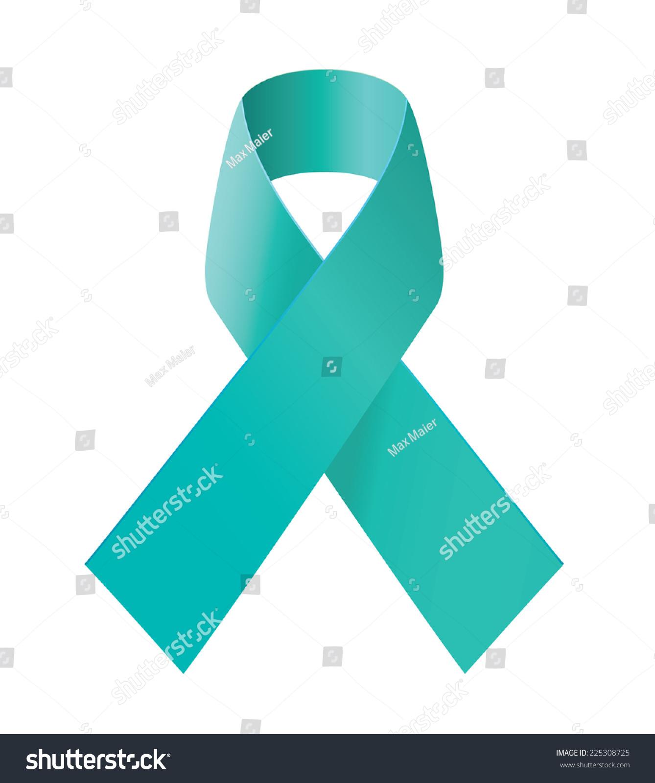 Teal Ribbon Symbol Scleroderma Ovarian Cancer Stock Vector Royalty