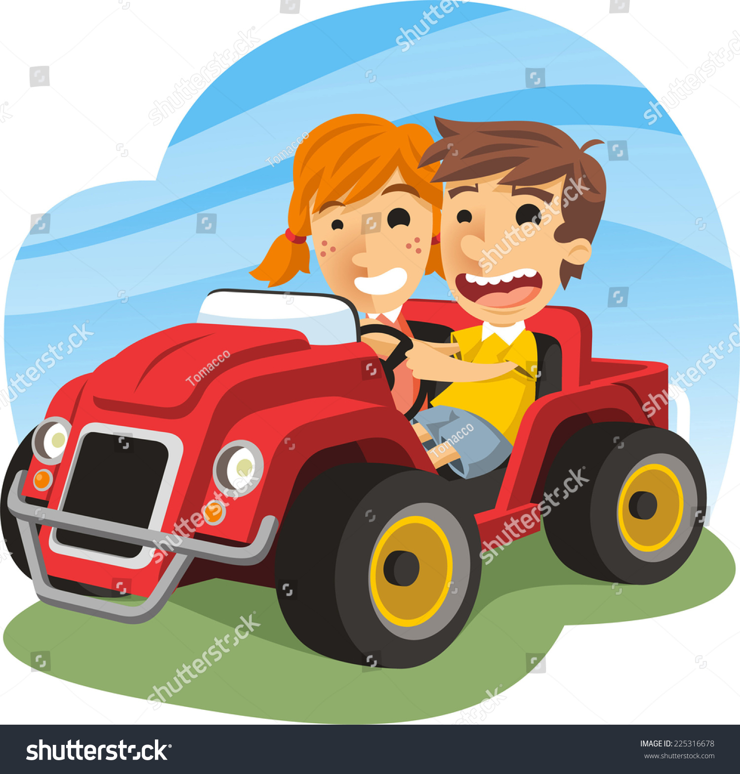 Children Driving Toy Car Little Boy Stock Vector