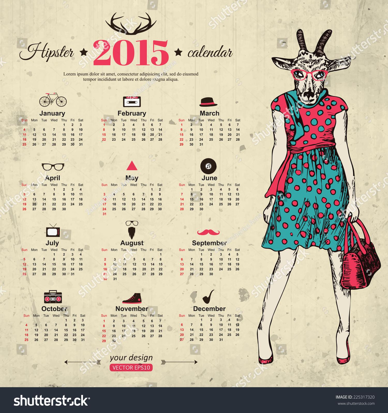 Illustration Calendar Design : Calendar template hipster design year stock vector