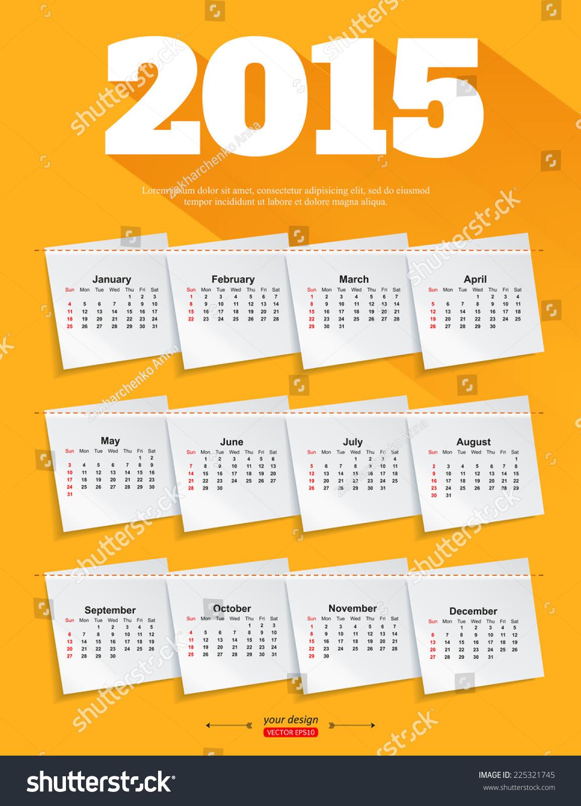 2015 calendar template brochure business design  vector illustration