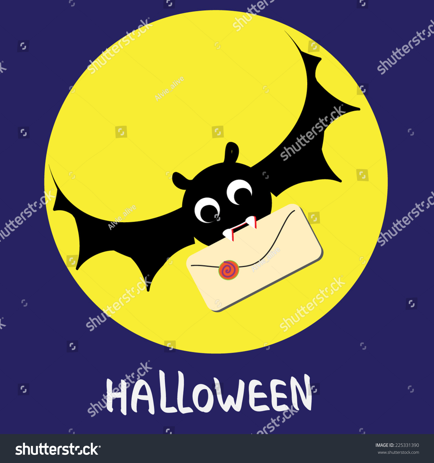 Halloween Mail Delivery Cute Illustration Dracula Stock Vector