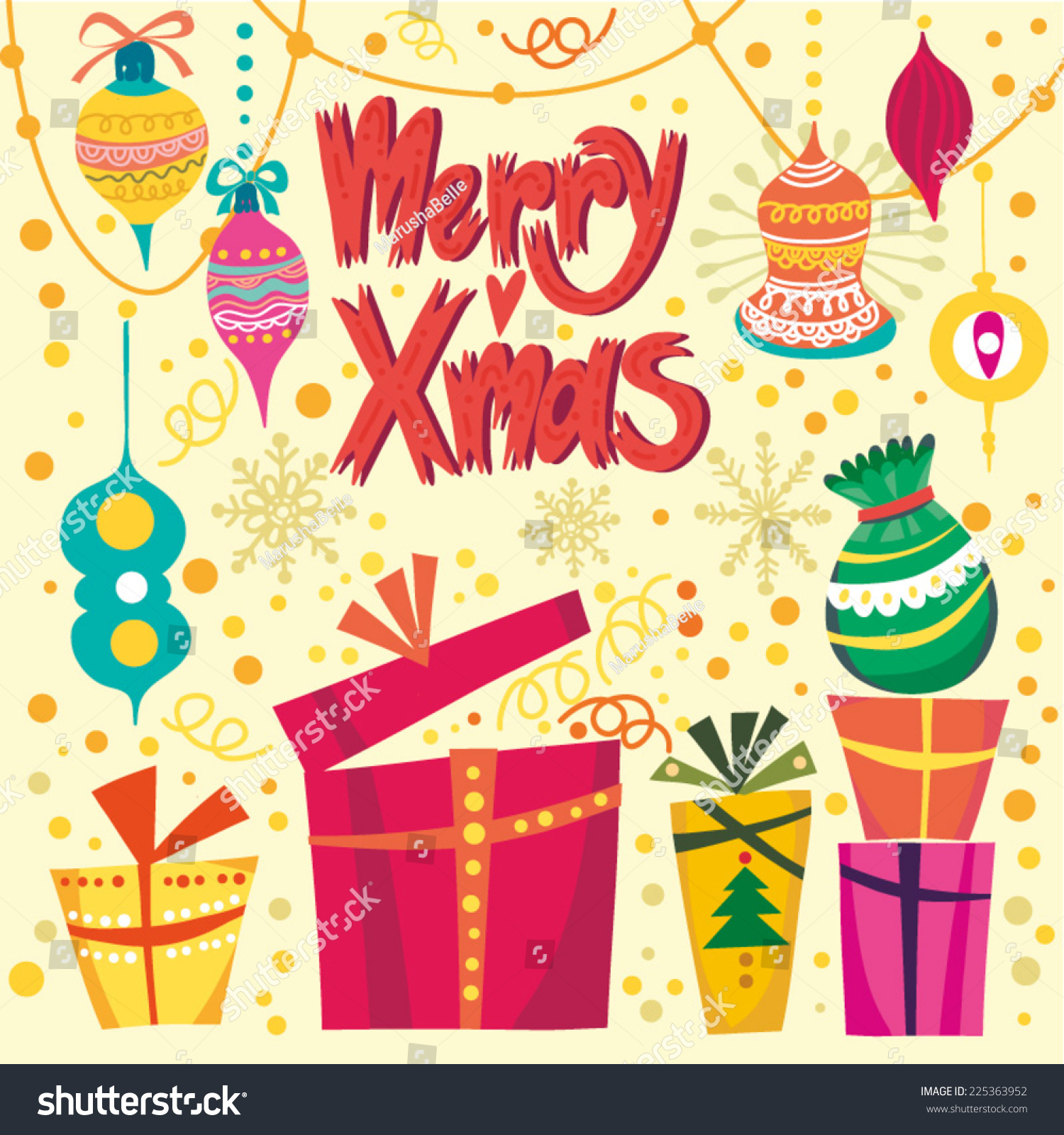 Vector bunting flags lovely celebration card with colorful paper - Vintage Christmas Card Of Gift Boxes