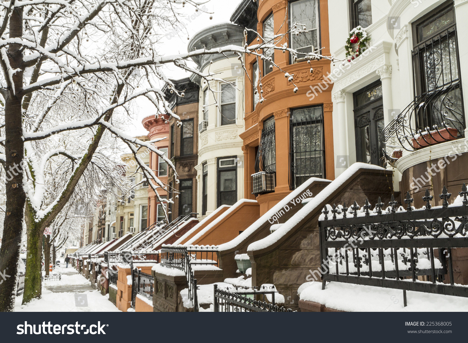 Snow On Trees Stoops Historic Brownstone Stock Photo 225368005 ...