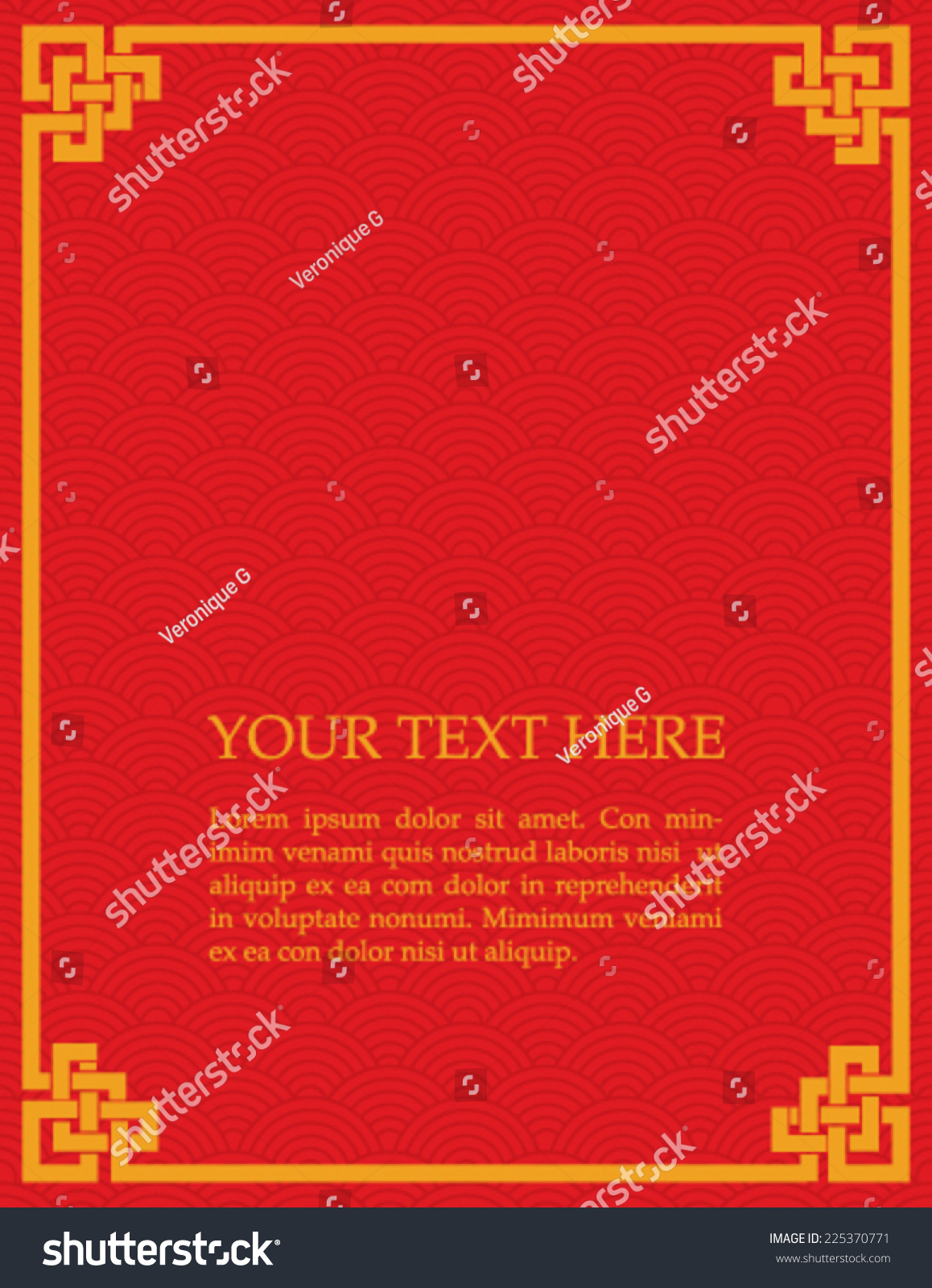 Book Cover Design From East Asia : Traditional asian red gold wave pattern stock vector