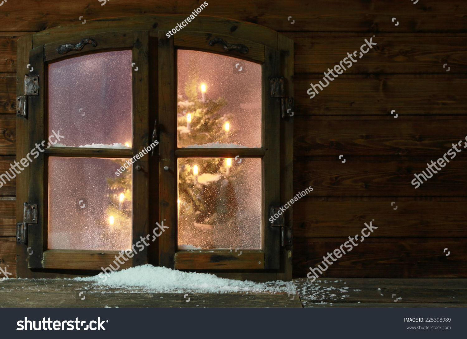 Small Amount Snow Vintage Wooden Window Stock Photo (Edit