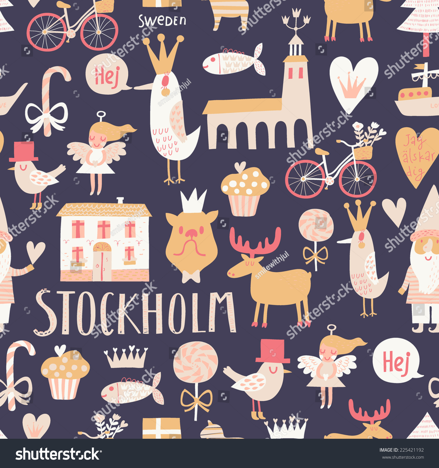 Stylish Stockholm concept seamless pattern in vector  House  church  gnome   birds. Stylish Stockholm Concept Seamless Pattern Vector Stock Vector