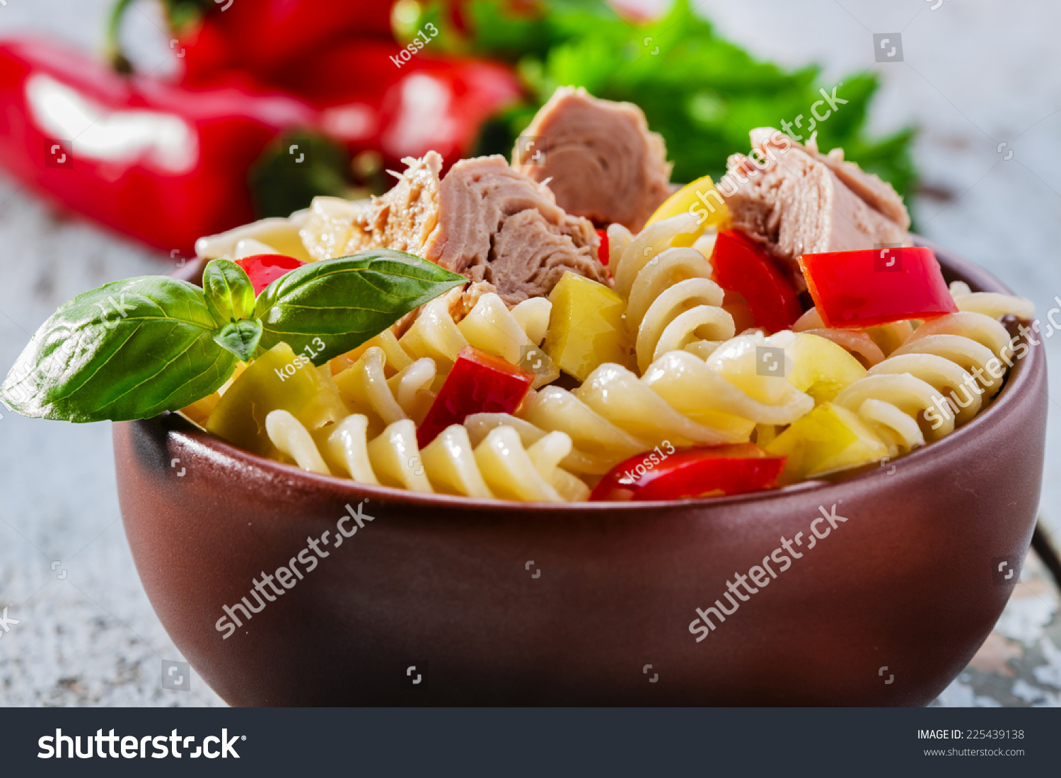 Pasta Salad With Tuna And Pepper Stock Photo 225439138 ...