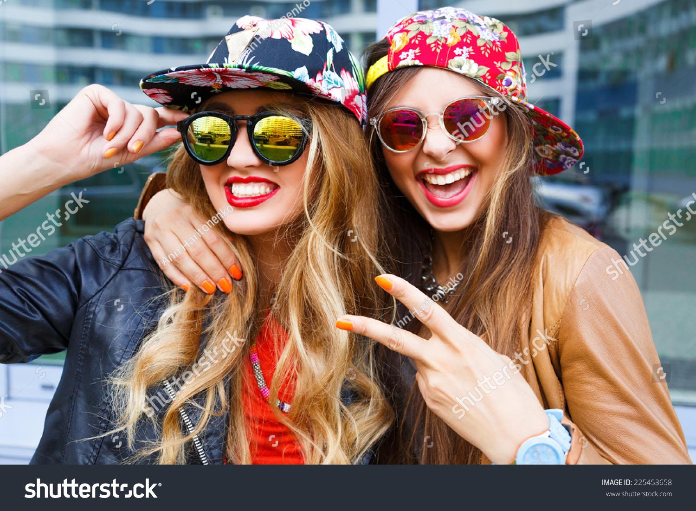 Closeup Fashion Lifestyle Portrait Two Pretty Stock Photo 225453658 Shutterstock
