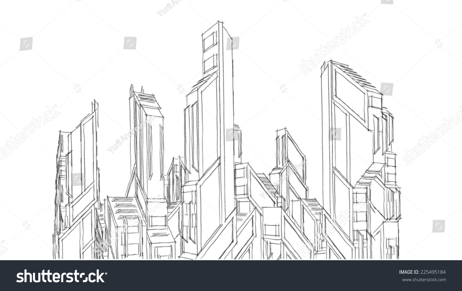 Futuristic Buildings Sketch Stock Illustration 225495184