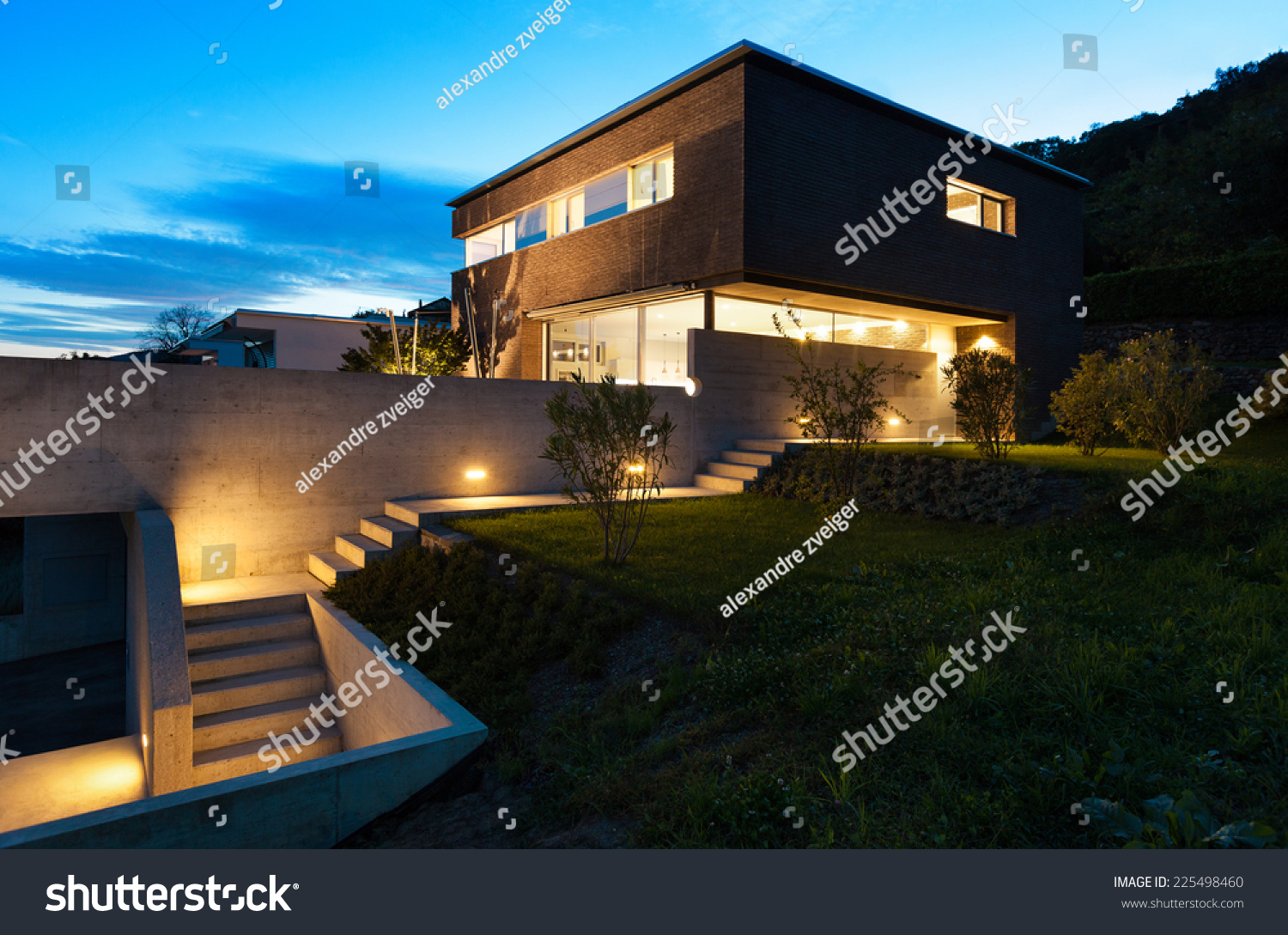 Architecture modern design beautiful house night scene for Modern house at night