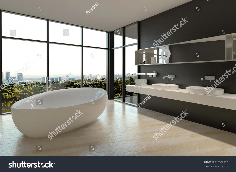 3D Rendering of White Ceramic Bathtub and Sinks on Elegant Bathroom ...