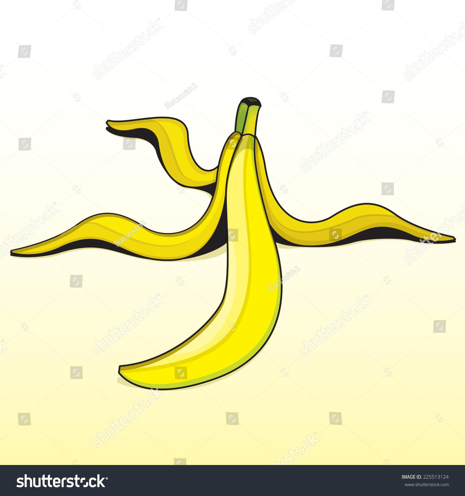 Vector Drawing Banana Peel Easy Edit Stock Vector Royalty Free