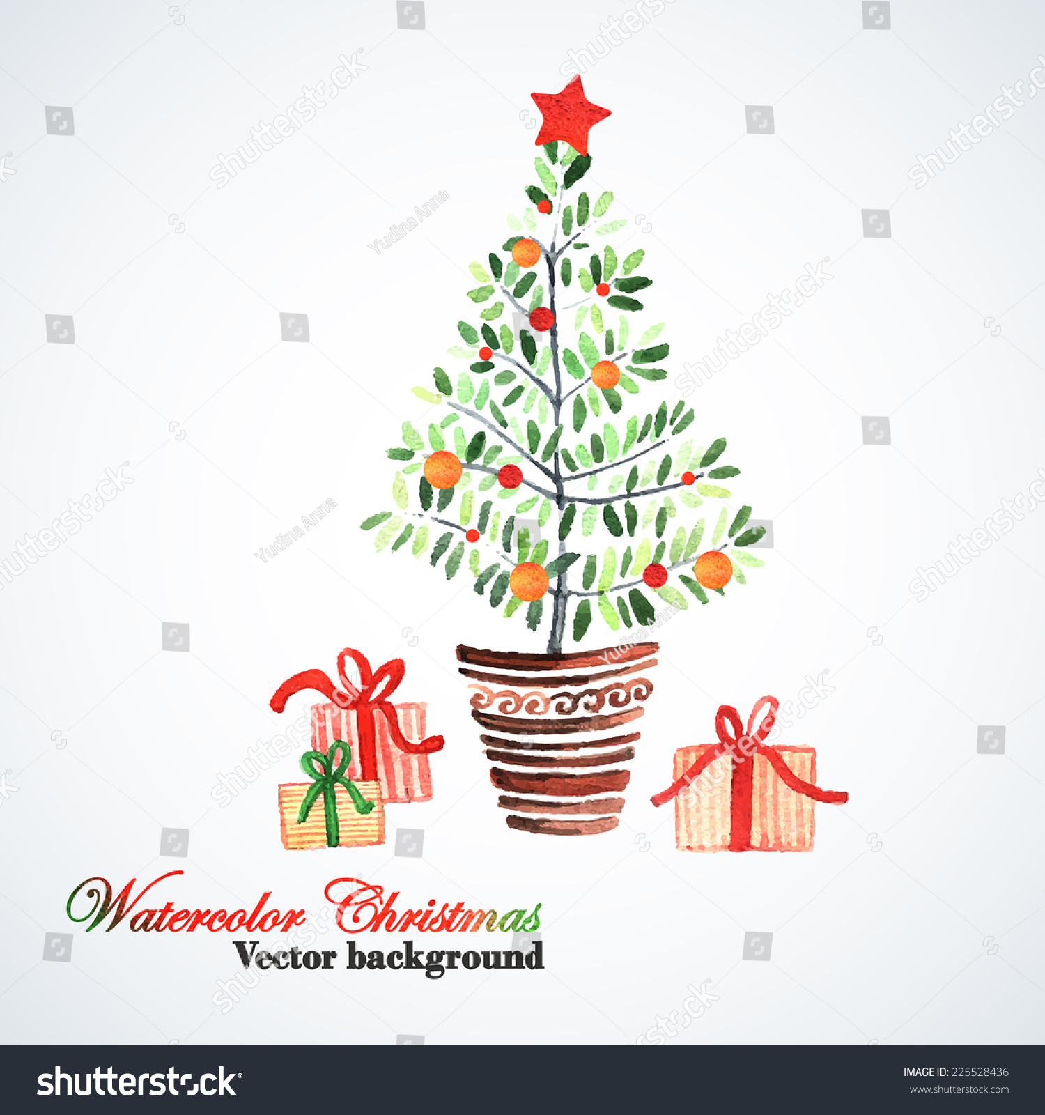 Watercolor Card Christmas Tree Hand Painting Stock Vector (Royalty ...