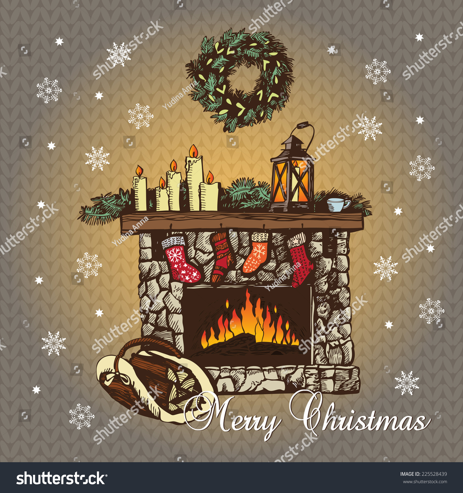 cozy christmas fireplace graphic illustration hand stock vector