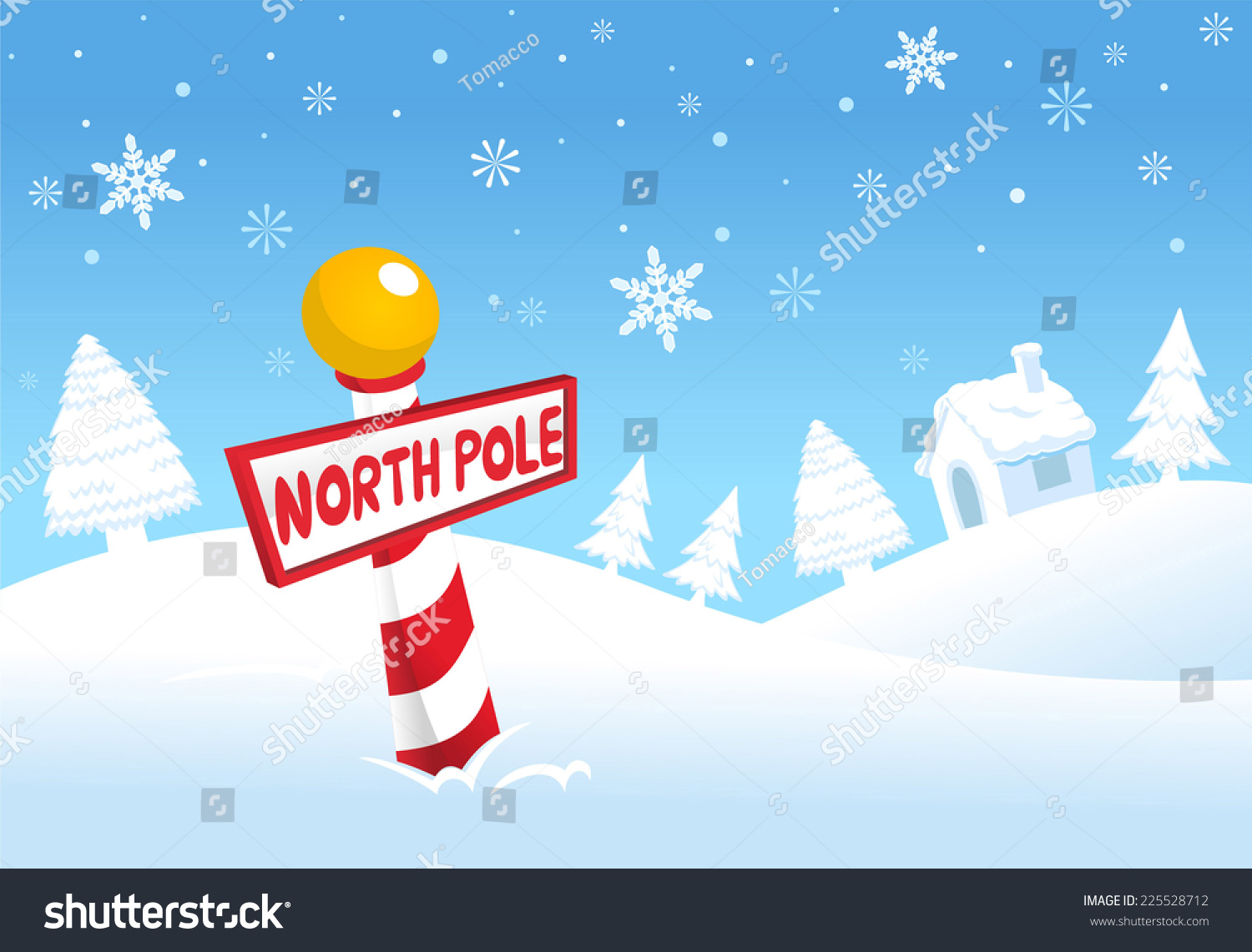 North Pole Christmas Landscape Scene Vector Stock Vector (Royalty ...