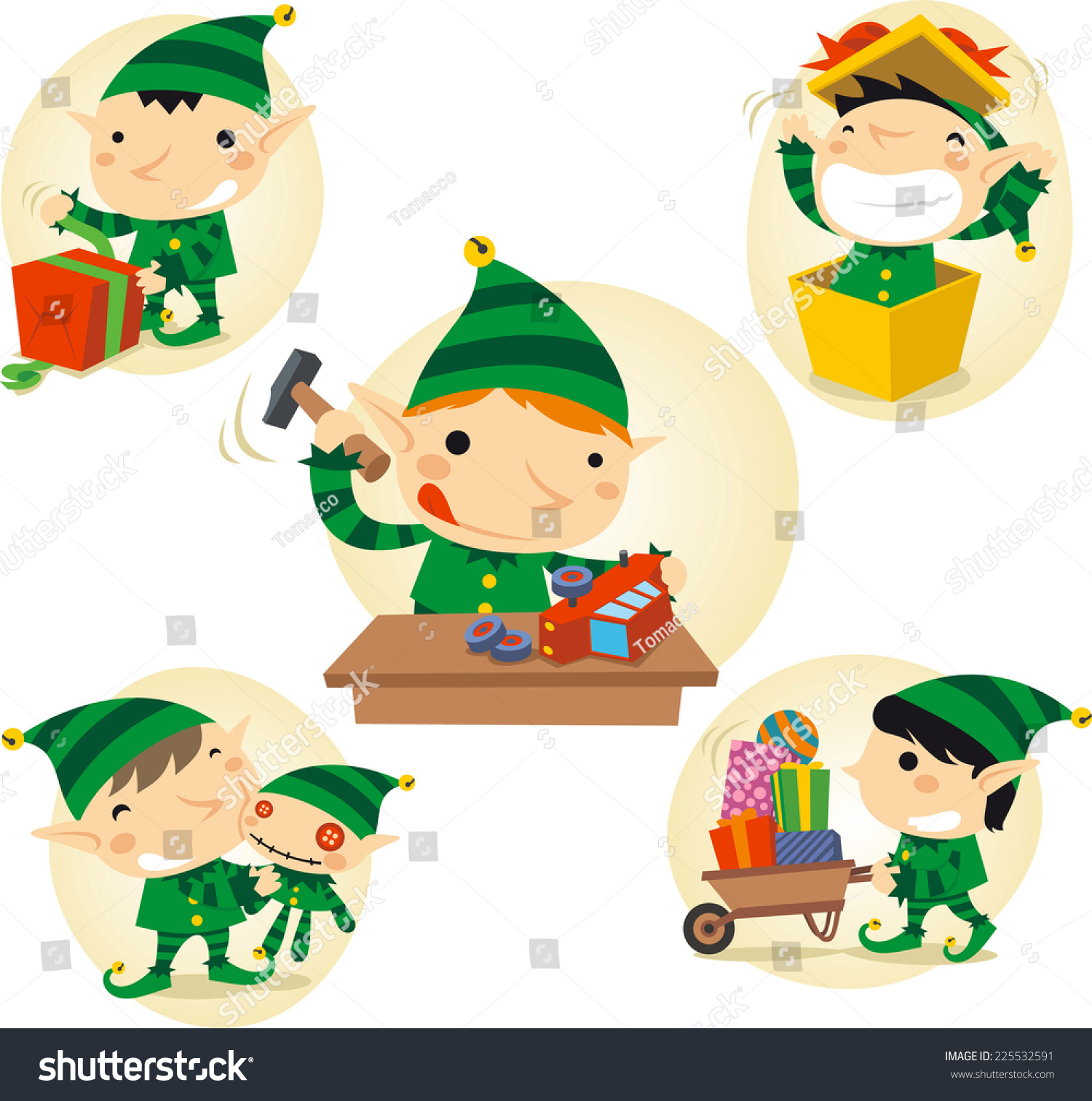 Elves Action Scenes Vector Cartoon Illustration Stock Vector ...