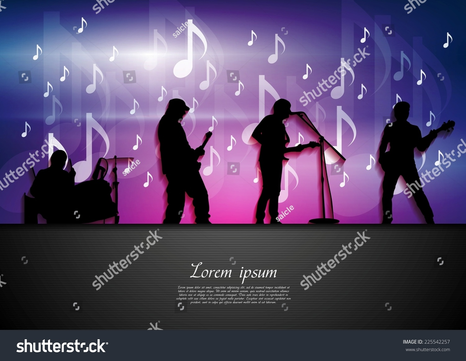 Poster design notes - Music Rock Party Abstract Background Silhouettes And Notes Vector Poster Design