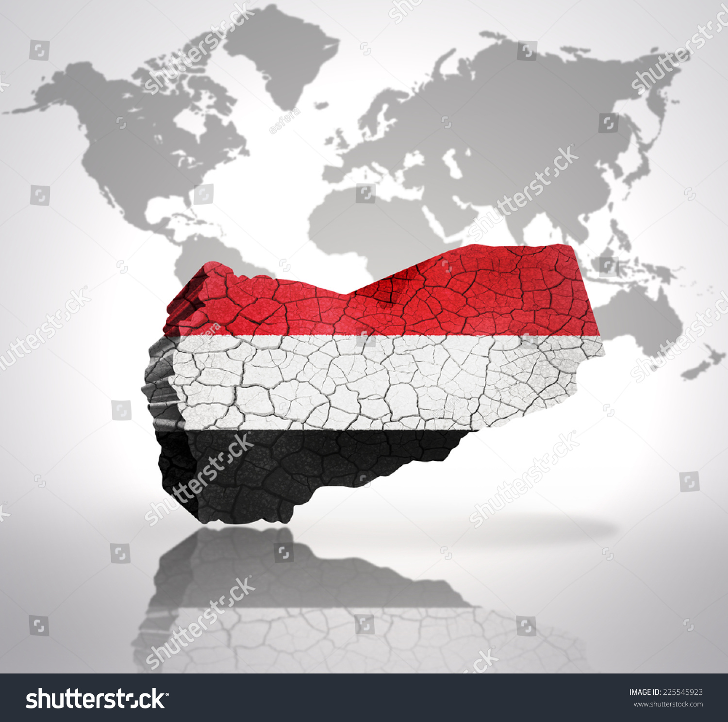 Map Yemen Yemen Flag On World Stock Illustration Royalty Free