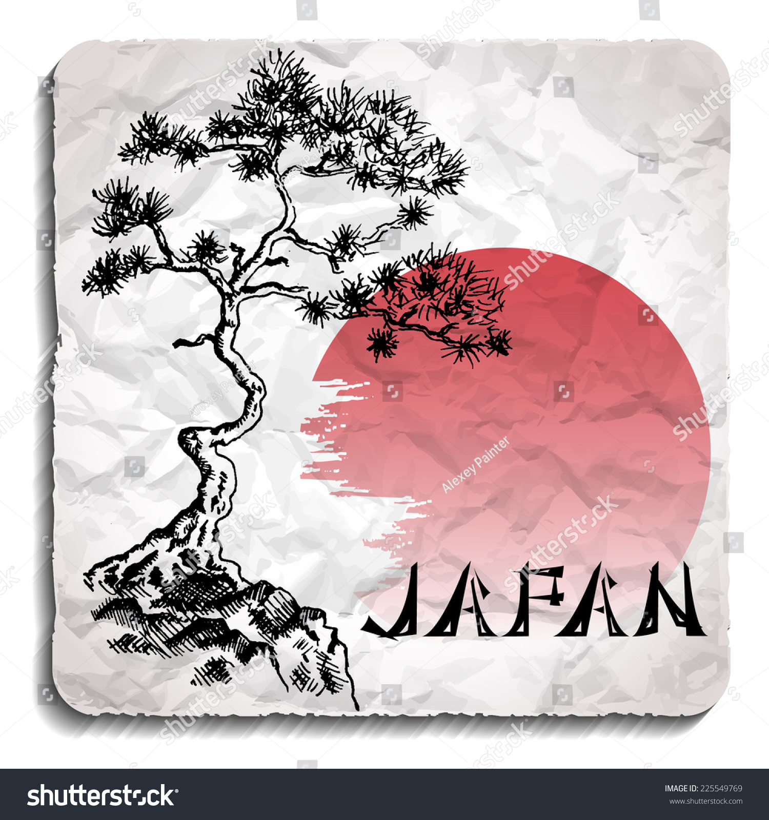 Japanese Pine Tree And Sun Hand Drawn Sketch And