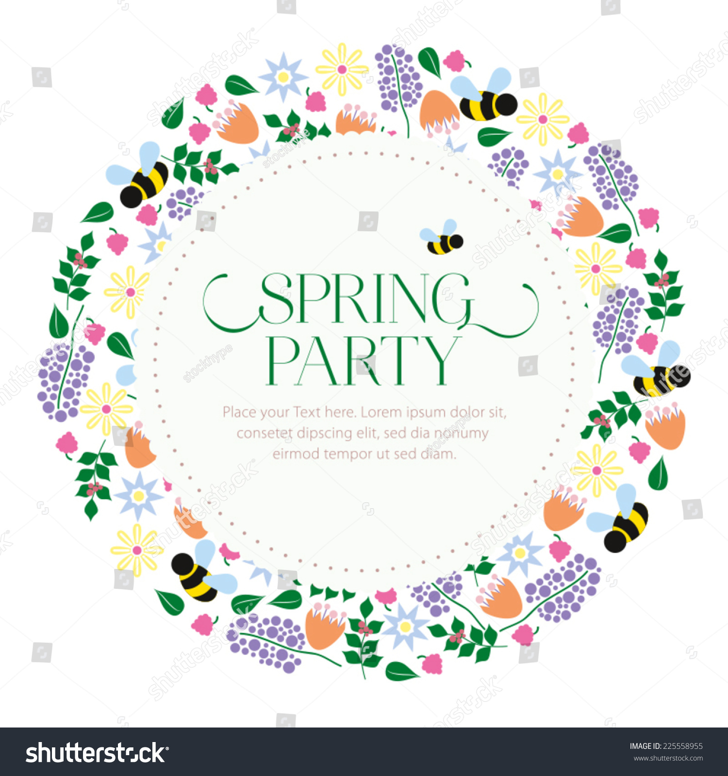 Spring Party Invitation Card Text Flower Stock Vector Royalty Free