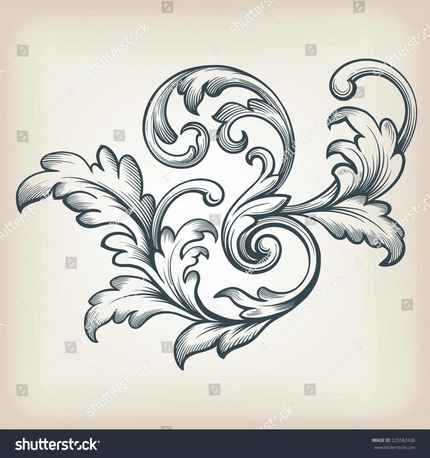 rococo motif vintage floral - photo #41