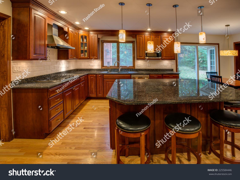 Corner Newly Finished Kitchen Granite Counter Stock Photo