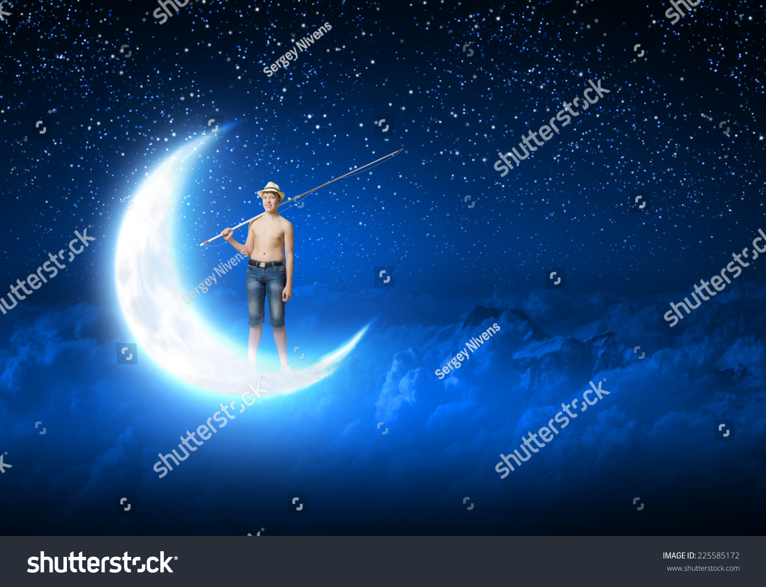 Young boy standing on moon with fishing rod stock photo for Fishing rod sun and moon