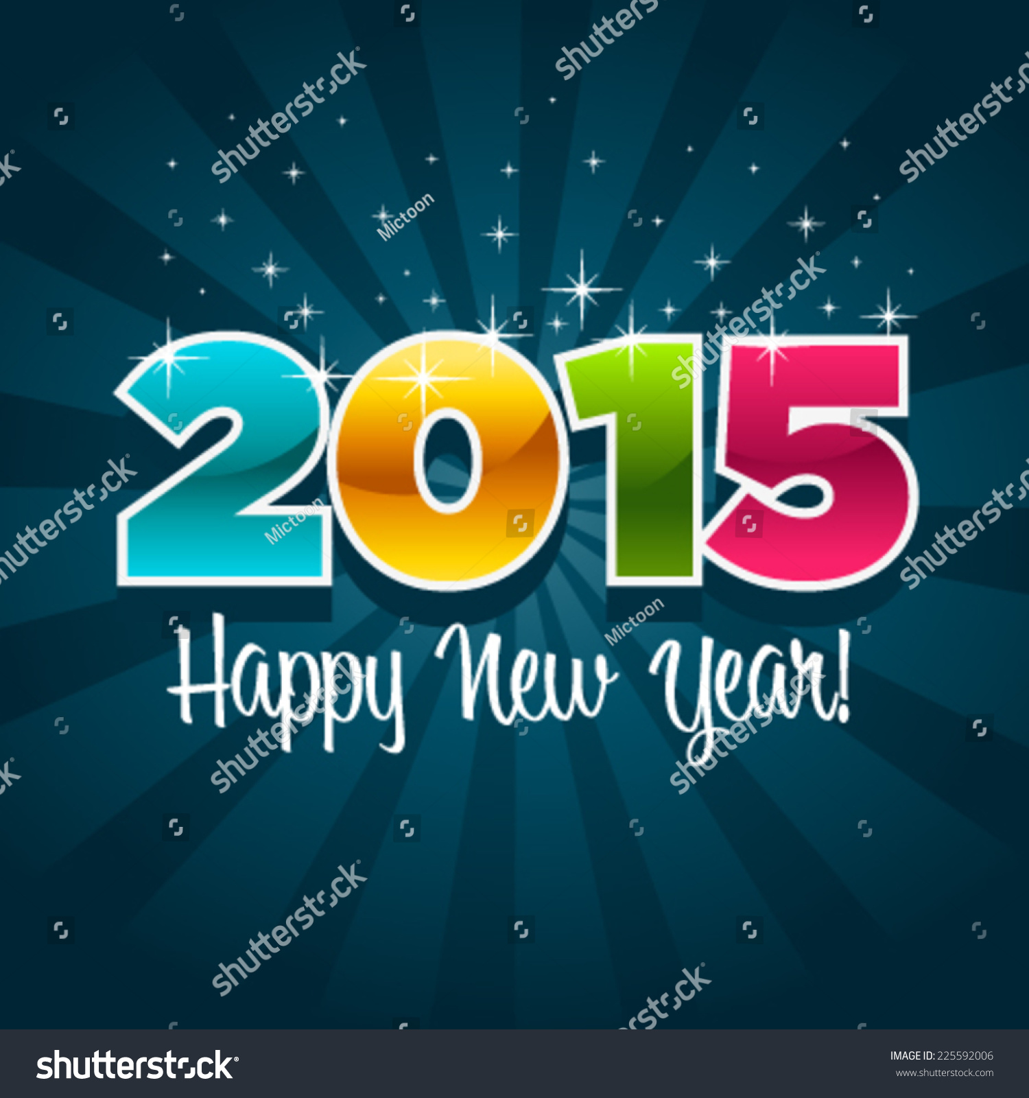 Happy New Year 2015 Greeting Card Stock Vector 225592006 Shutterstock