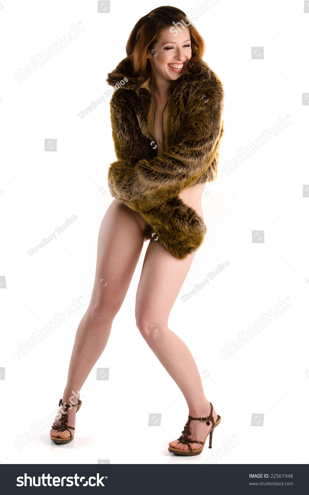 bottomless girl laughing pin-up girl in fur coat bottomless