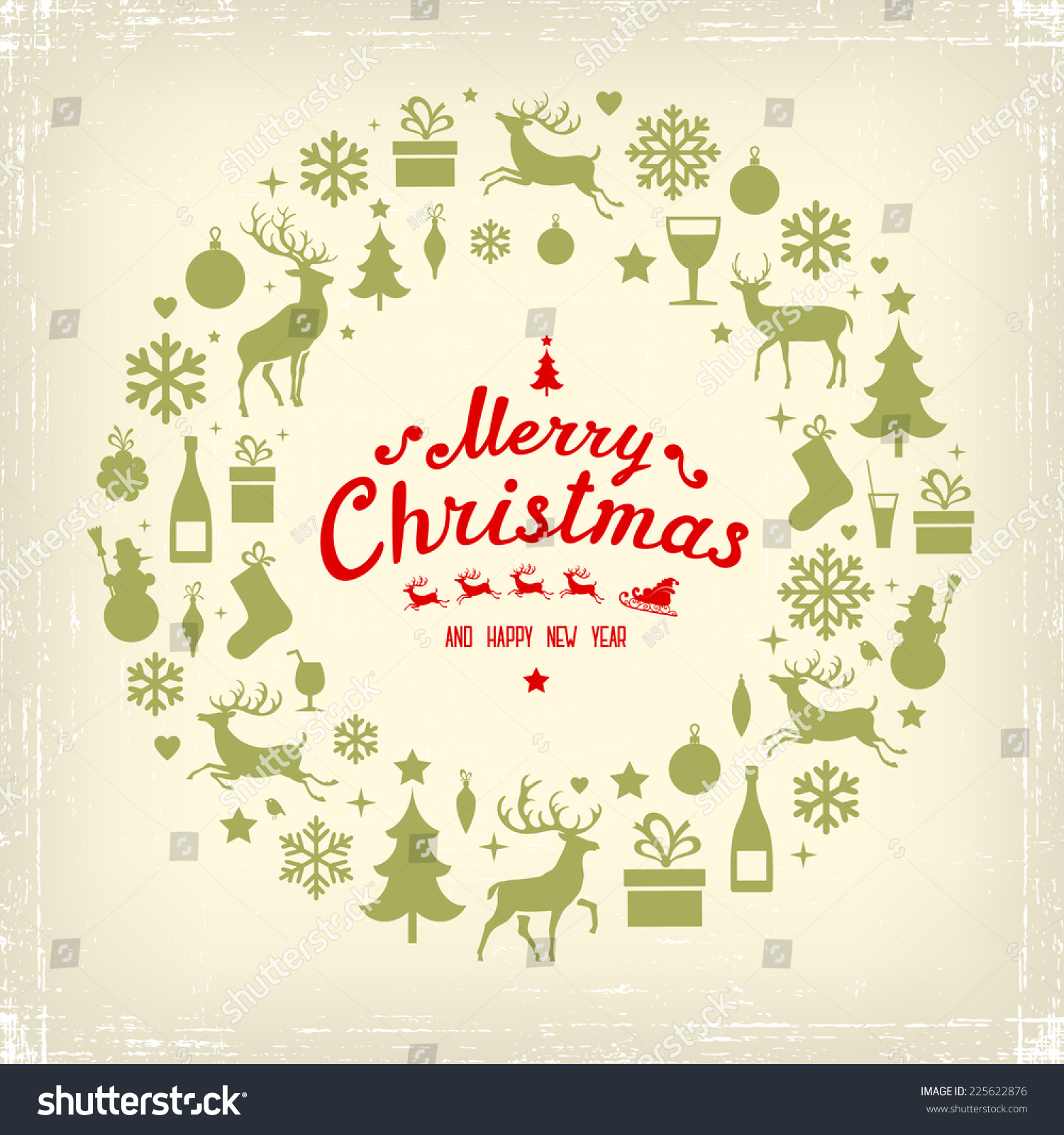 Christmas New Years Greeting Card Stock Vector 225622876 - Shutterstock