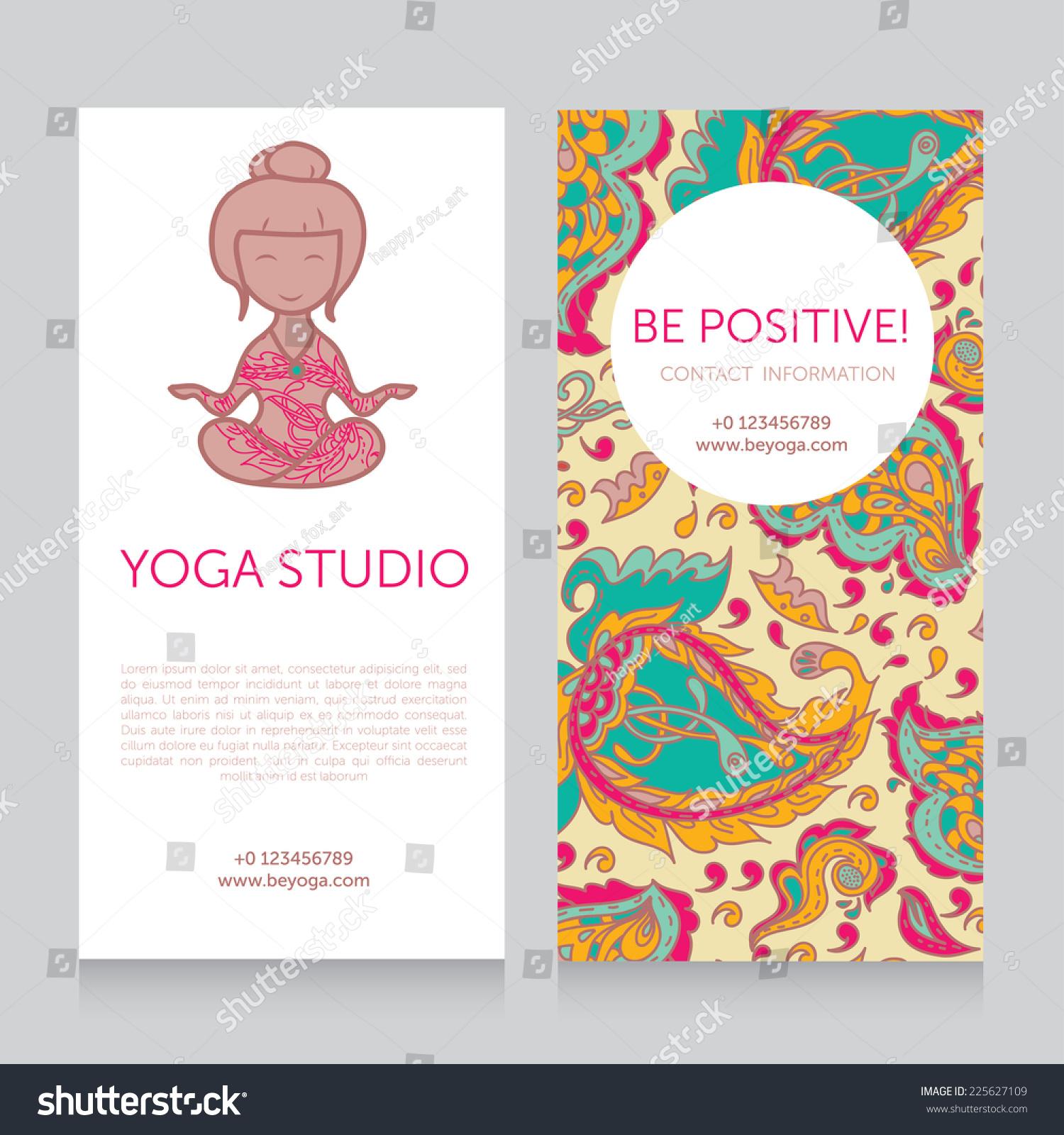 Paisley Design Template Yoga Studio Business Stock Vector