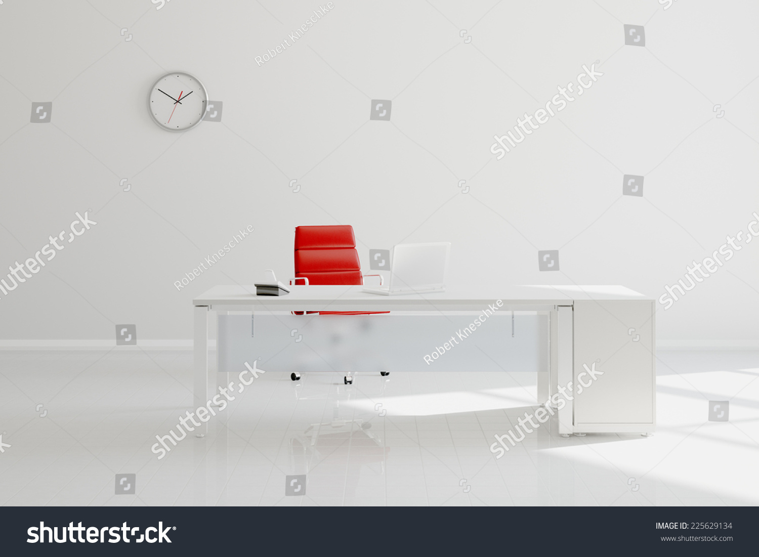 modern white office desk. Modern White Office With Desk In Front Of Wall Clock (3D Rendering) E