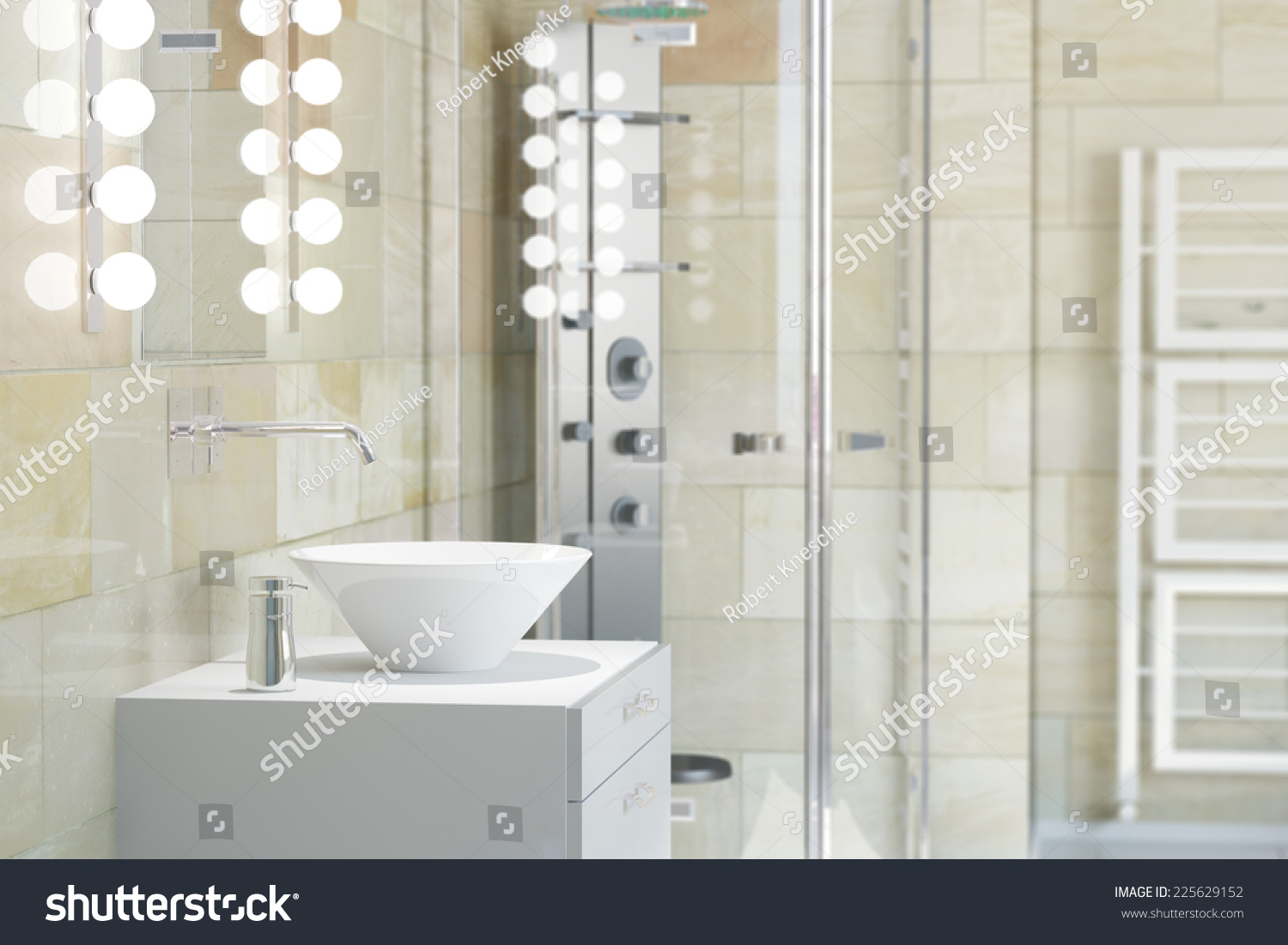 White Sink Bathroom Shower Terracotta Tiles Stock Illustration ...