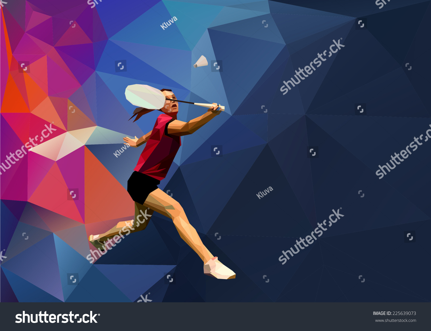 Abstract Triangle Volleyball Player Silhouette Stock: Abstract Triangle Style Female Badminton Player Stock