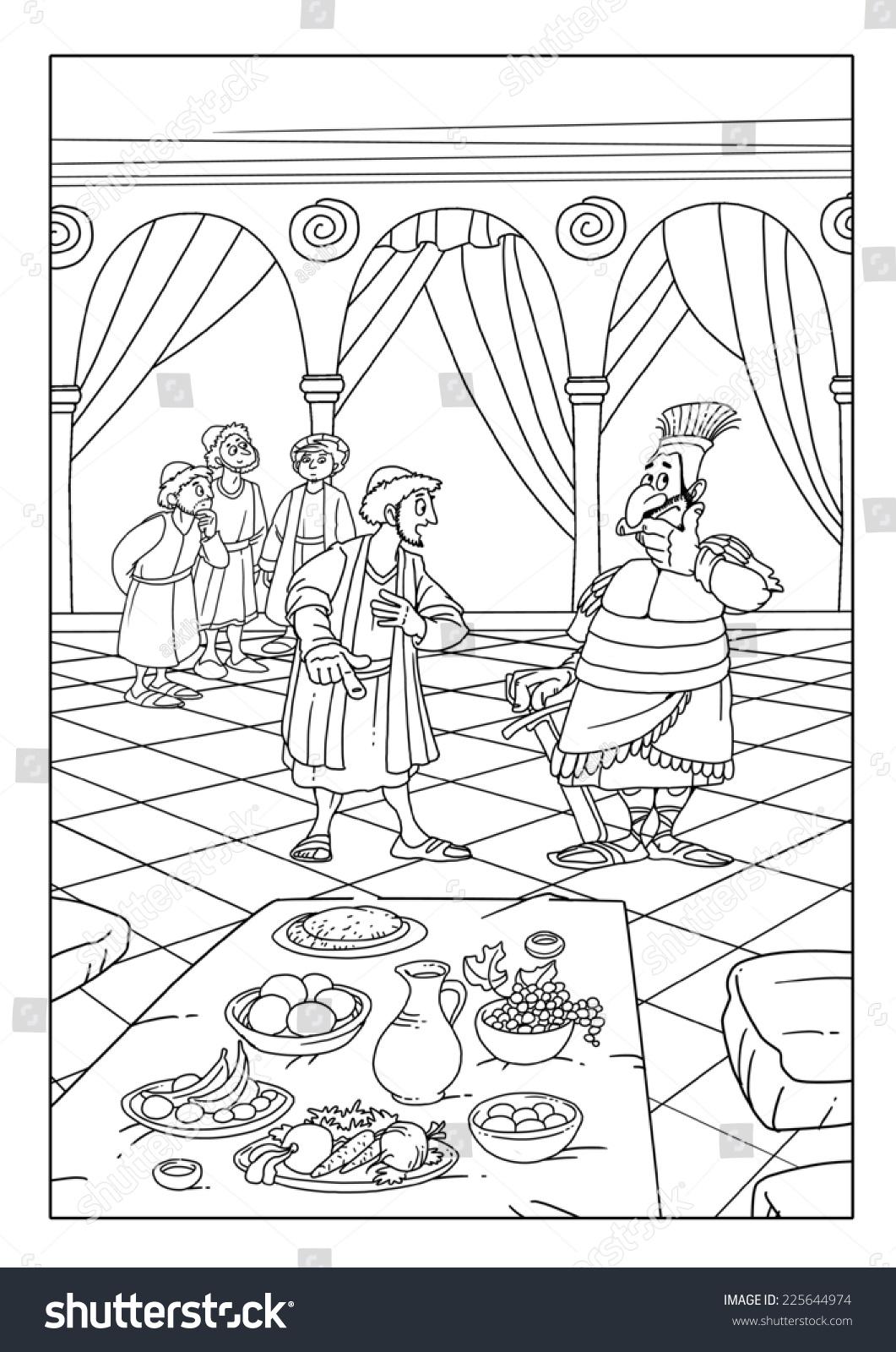 Prophet Daniel His Four Friends Showing Stock Illustration
