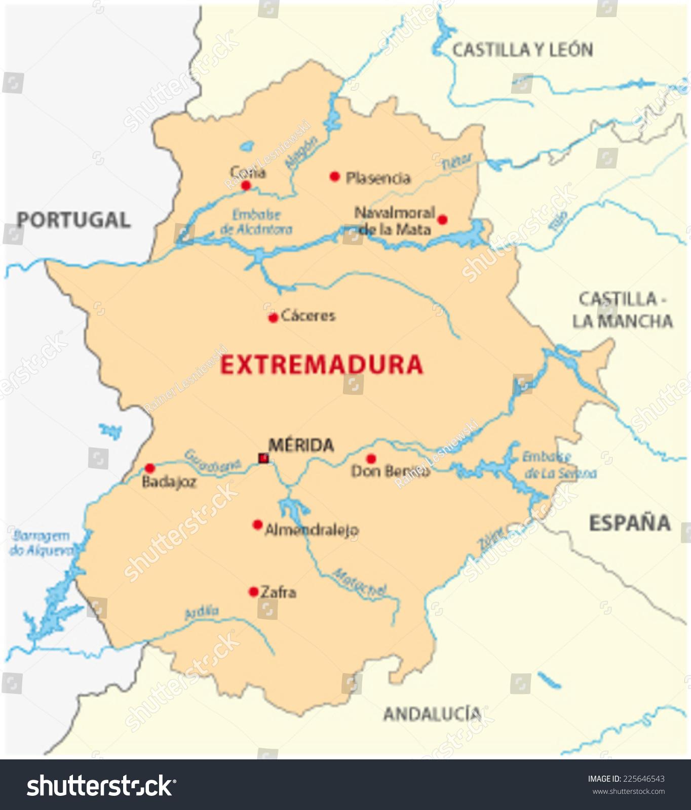 Extremadura Karte Stock Vektorgrafik Lizenzfrei 225646543