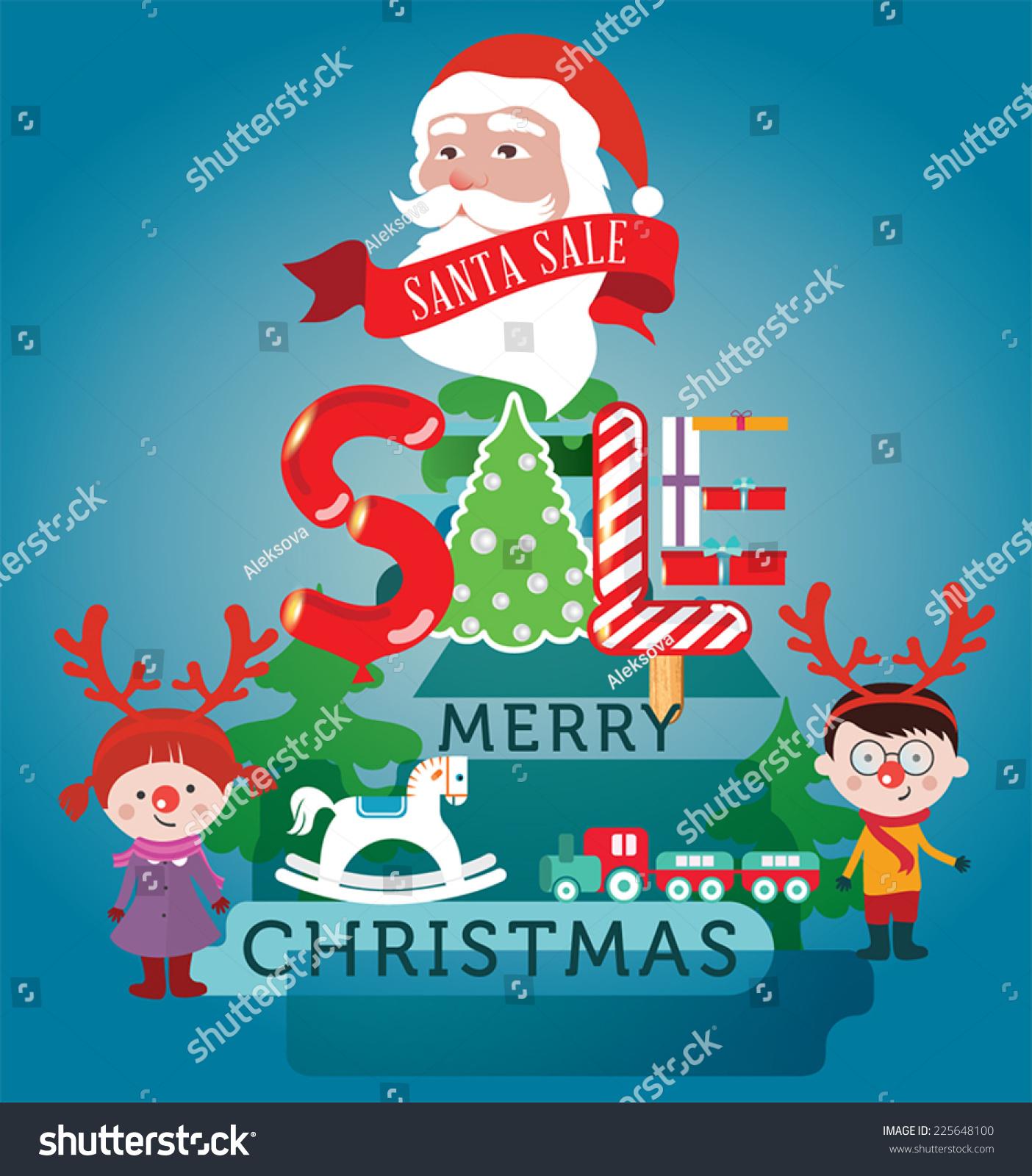 Christmas sale design template with Santa, Christmas tree and gifts ...