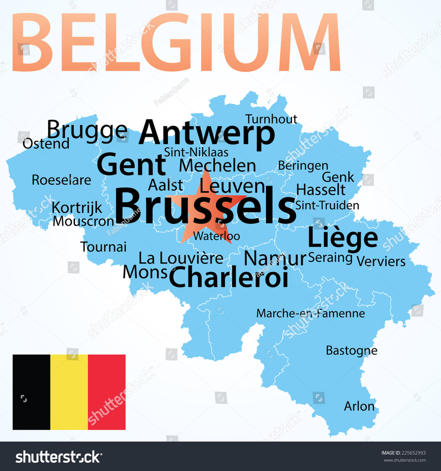 Belgium Map Largest Cities Carefully Scaled Vector 225652993 – Map of Belgium with Cities